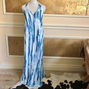 Lulu's blue white open back maxi dress . S